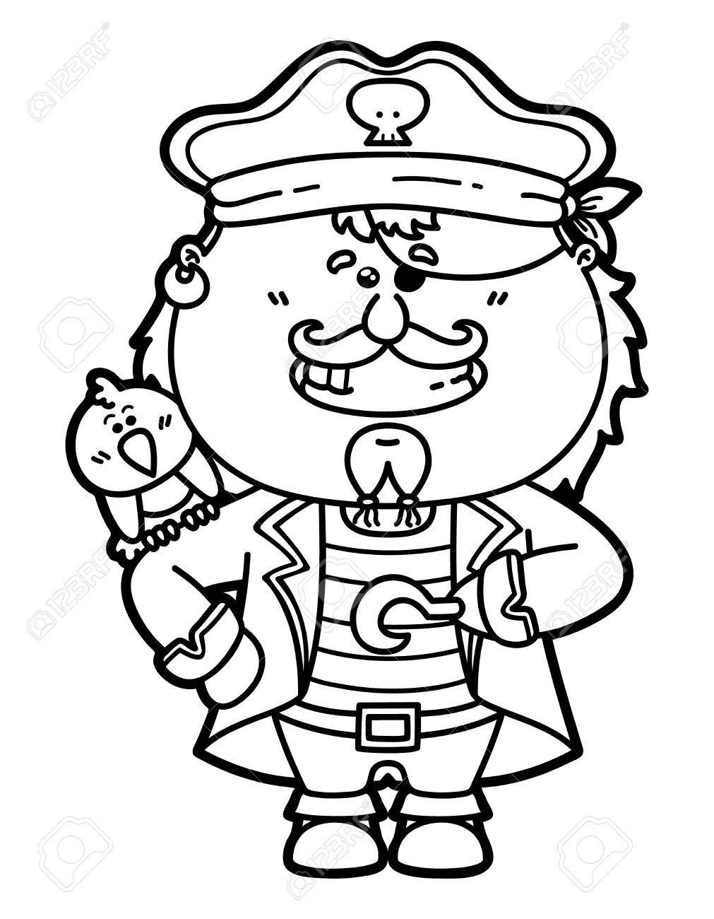 Lustigen Piraten Vektor Illustration Malvorlagen Von Glücklich