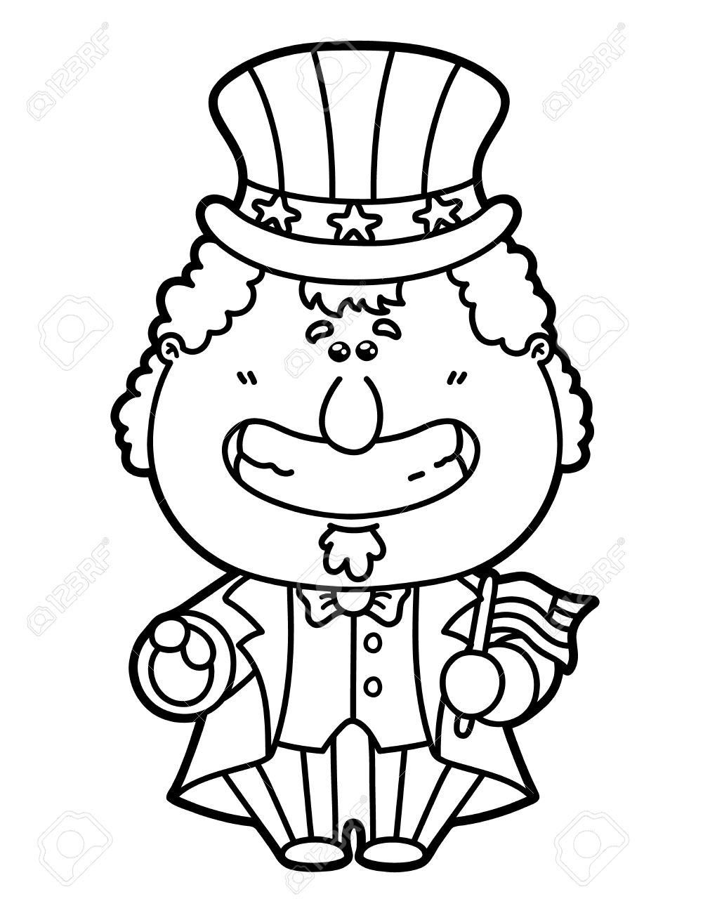 Funny Uncle Sam. Vector Illustration Coloring Page Of Happy Cartoon ...