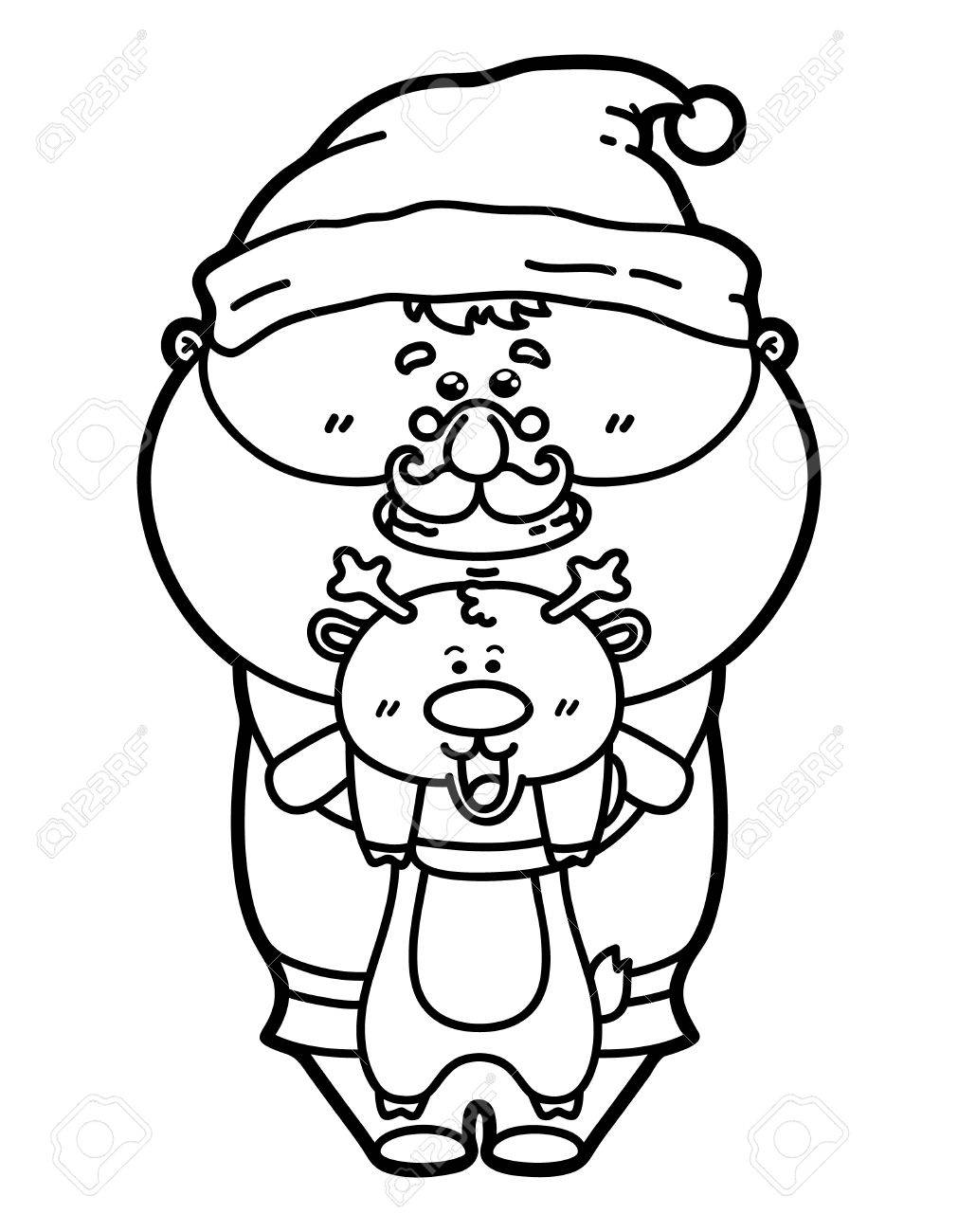 Divertida Santa Con Los Ciervos. Vector Ilustración De La Página ...