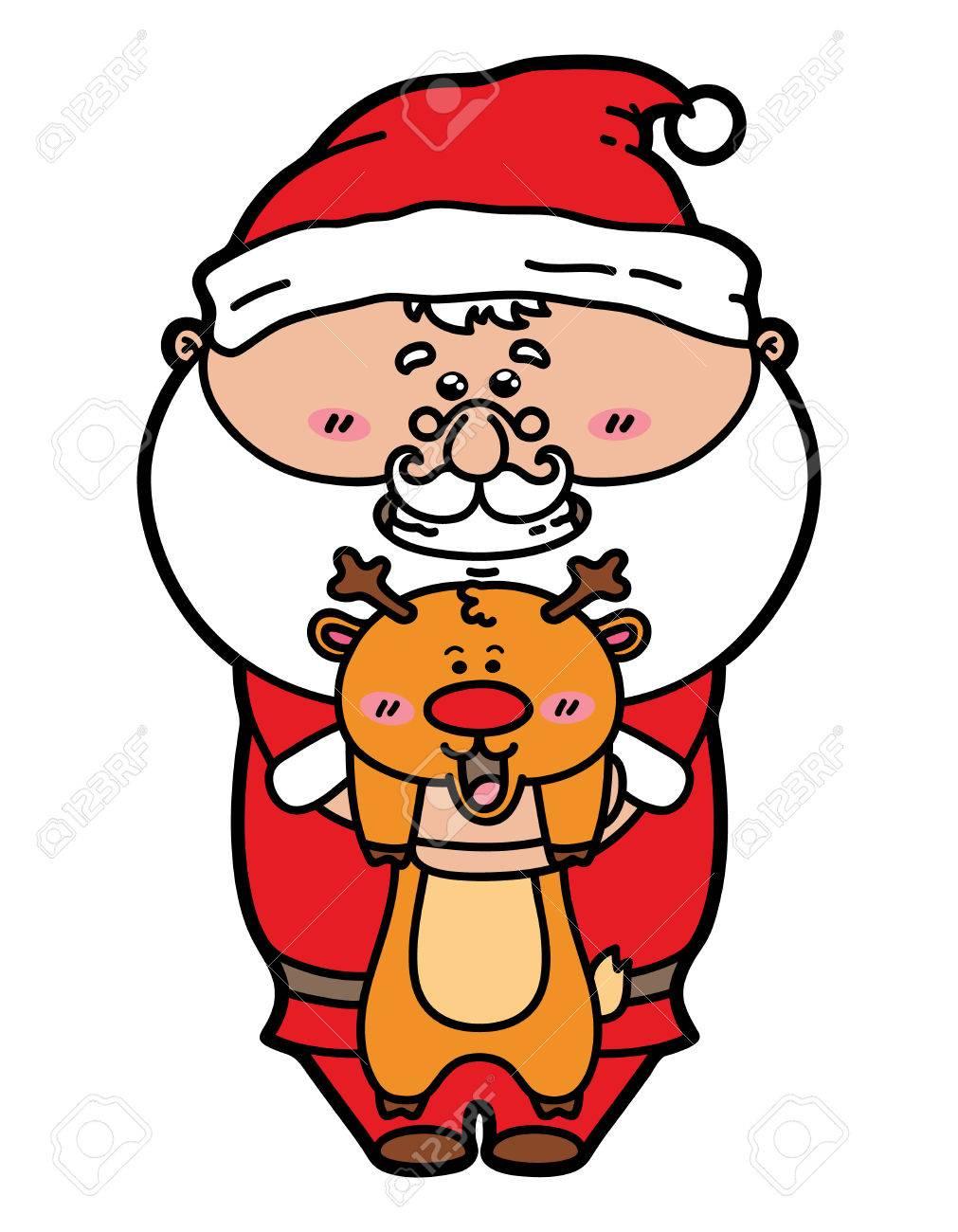 Immagini Natalizie Kawaii.Vettoriale Divertente Babbo Natale E Cervi Illustrazione