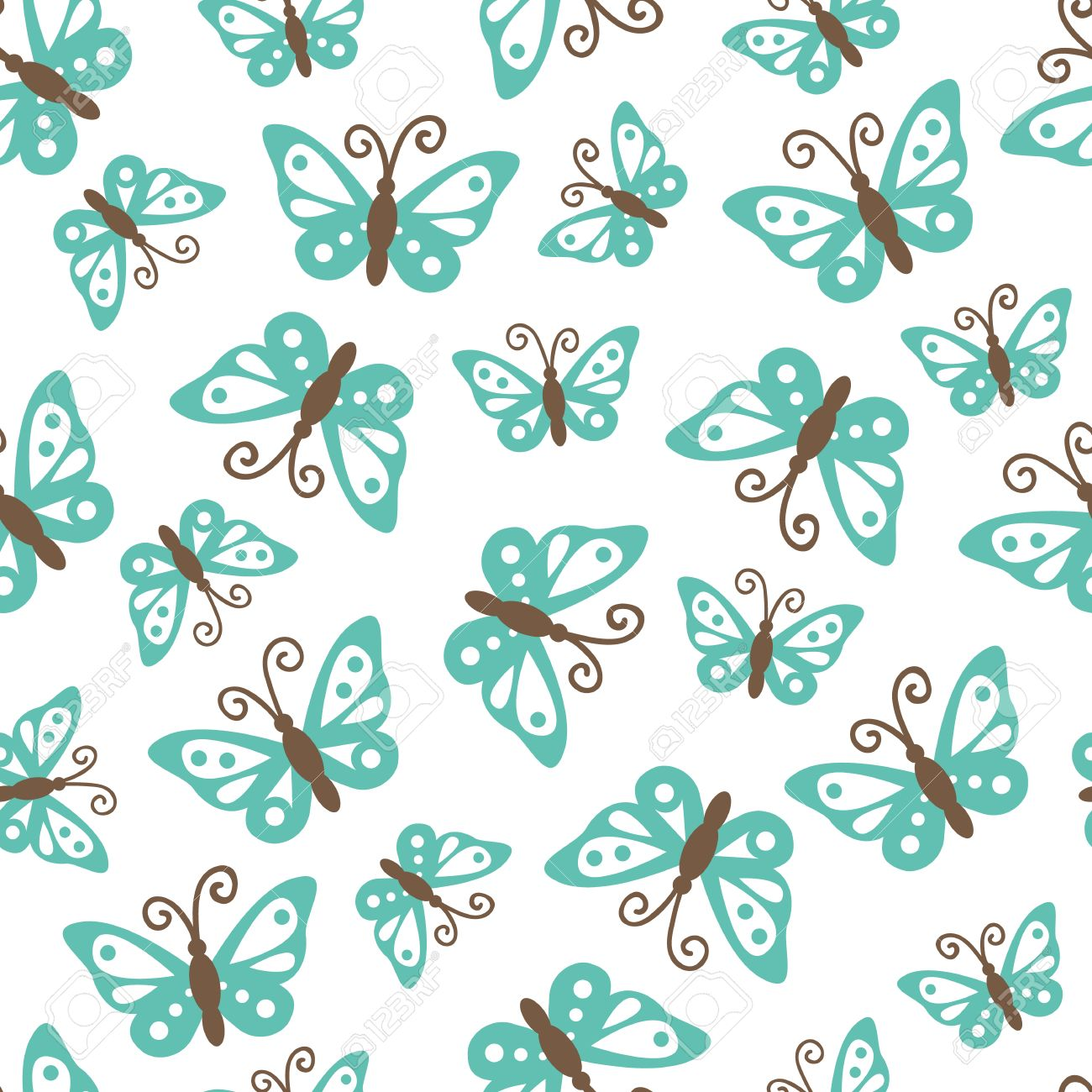 Butterflies Pattern Vector Seamless Pattern With Cute Butterflies