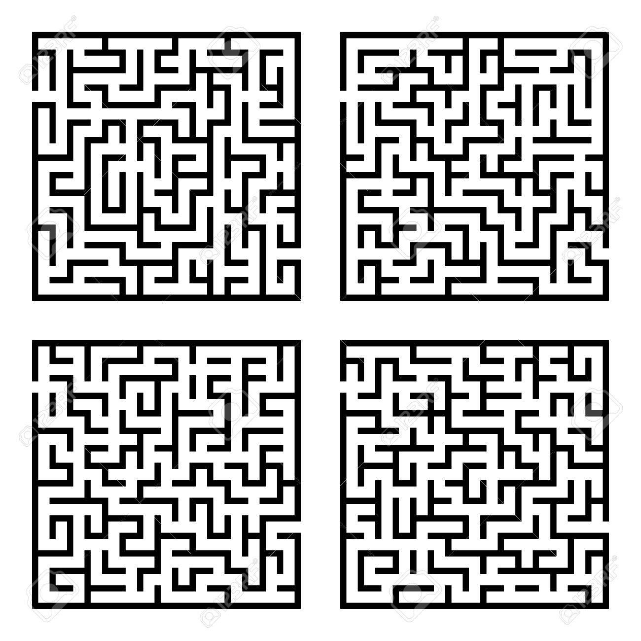 迷路迷路のセットです セットの簡単な 4 つの迷路のベクトル イラストのイラスト素材 ベクタ Image