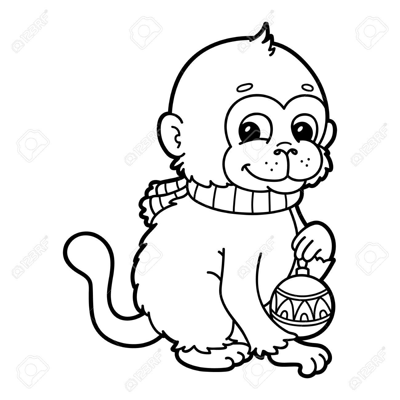 Lustigen Affen. Vektor-Illustration Malvorlagen Glückliche Cartoon ...