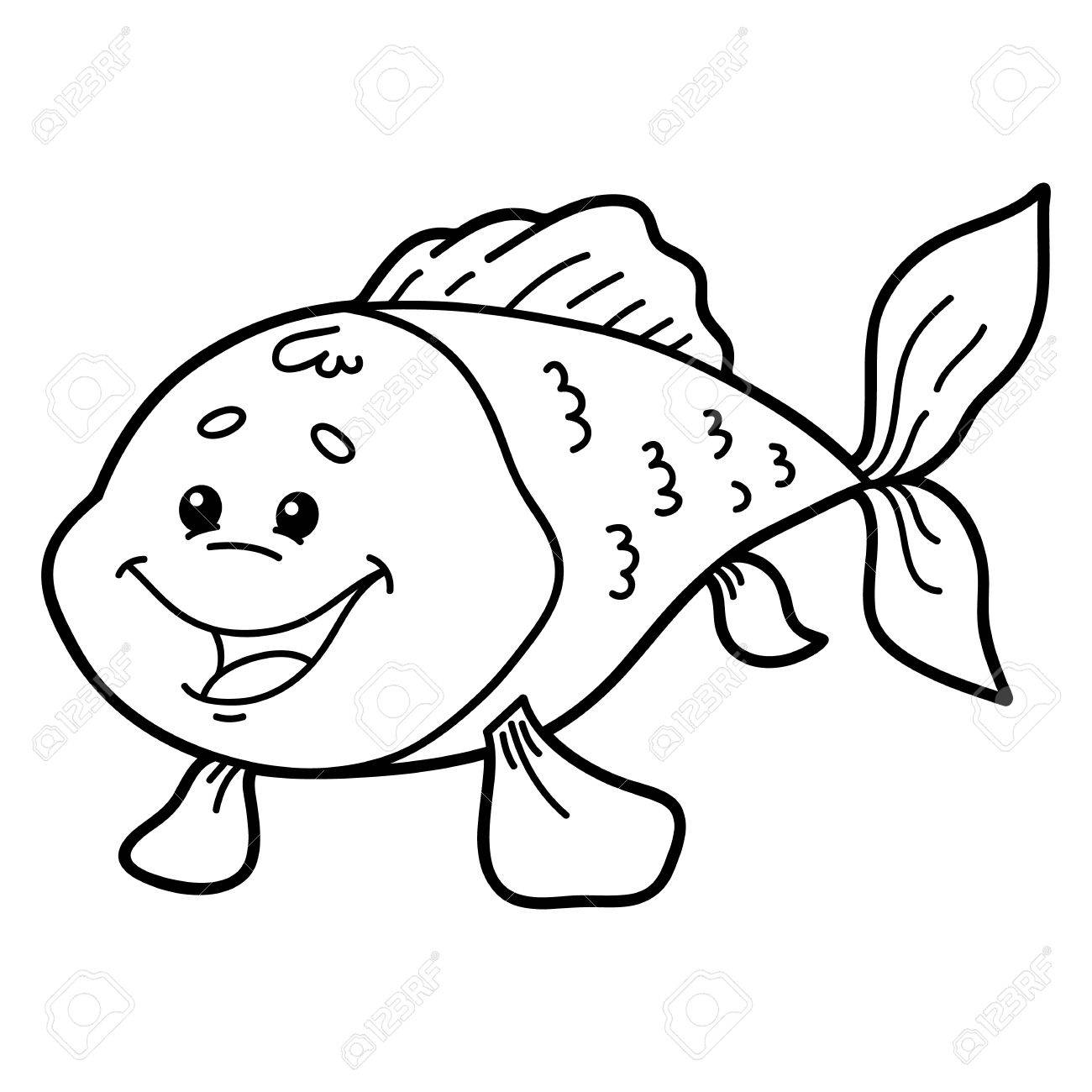 Linda De Los Pescados. Ilustración De Personaje Lindo Pescado Para ...