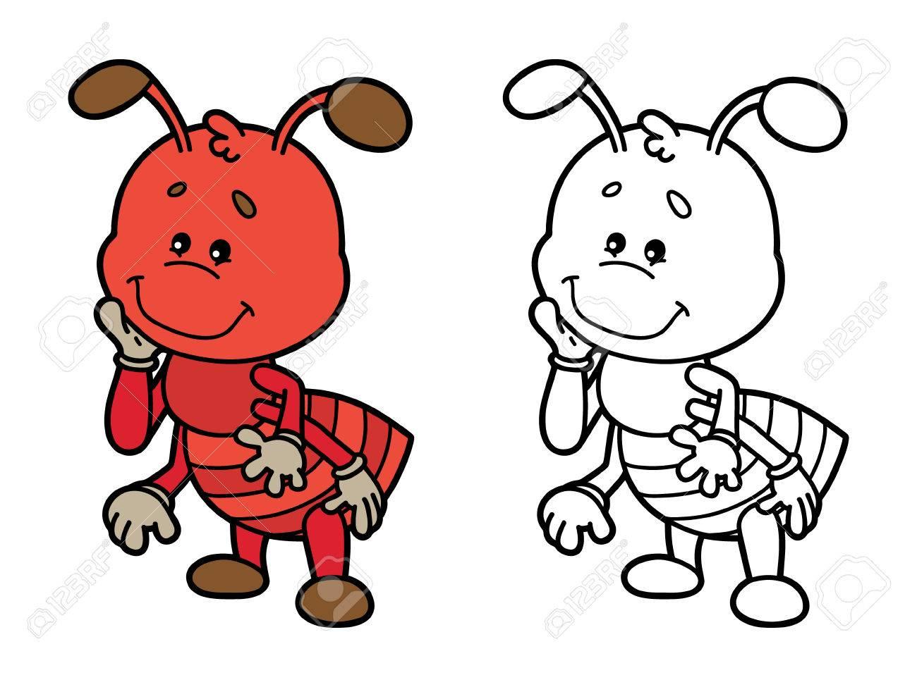 Hormiga Divertida. Página Para Colorear Ilustración De Feliz Hormiga ...