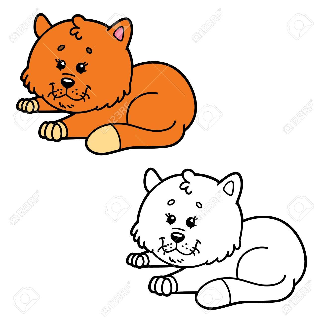Gato Divertido Página Para Colorear Ilustración De Feliz Gato De Dibujos Animados Para Niños Colorear Y álbum De Recortes