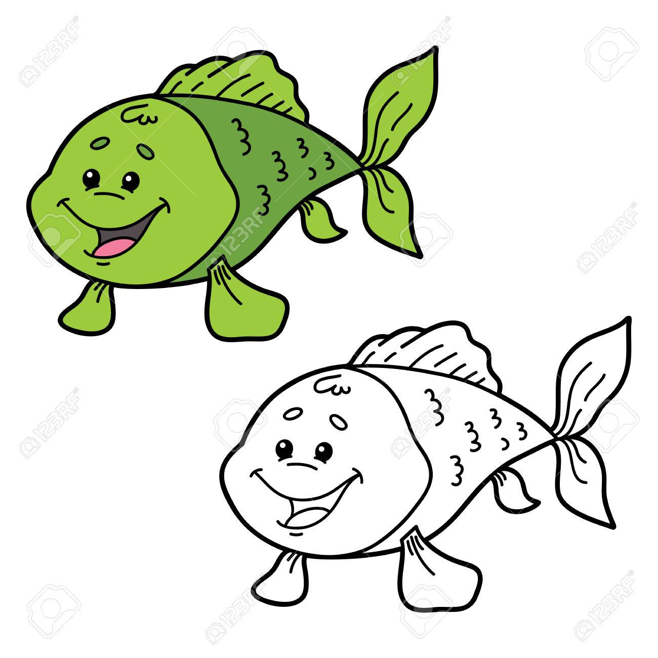 Funny Fish. Illustration Coloring Page Of Happy Cartoon Fish ...