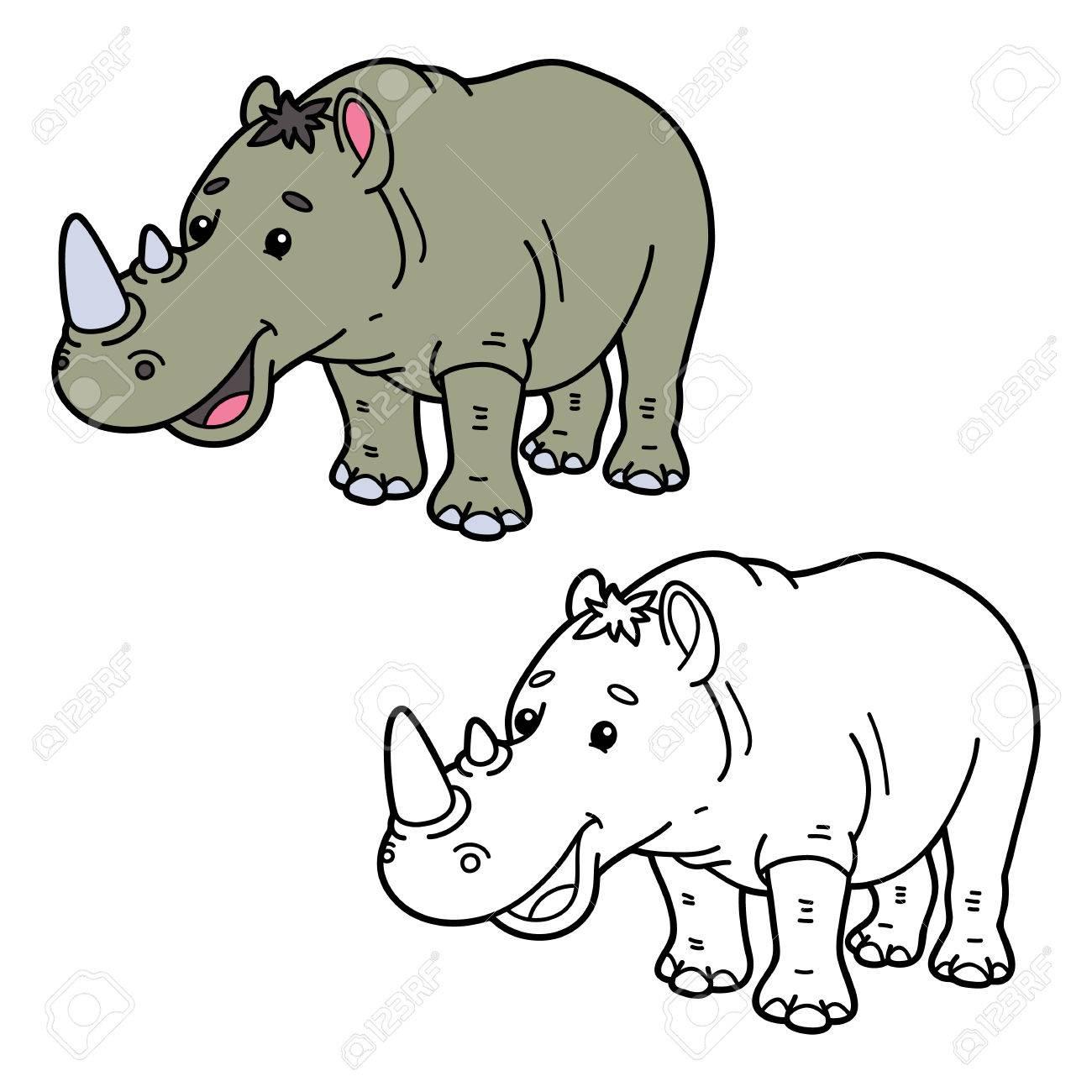 Funny Rhinoceros. Illustration Coloring Page Of Happy Cartoon ...