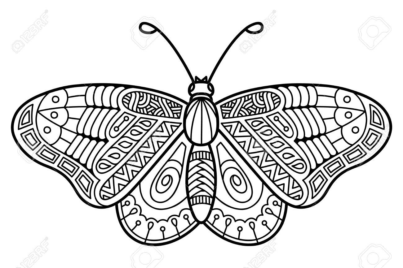 Mariposa Linda. Ilustración Vectorial De Lindo Mariposa Zentangle ...