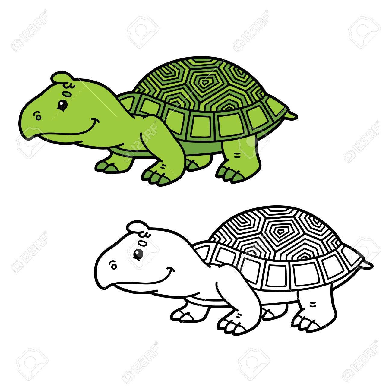 Tortuga Divertida. Vector Ilustración De La Página De Colorear ...