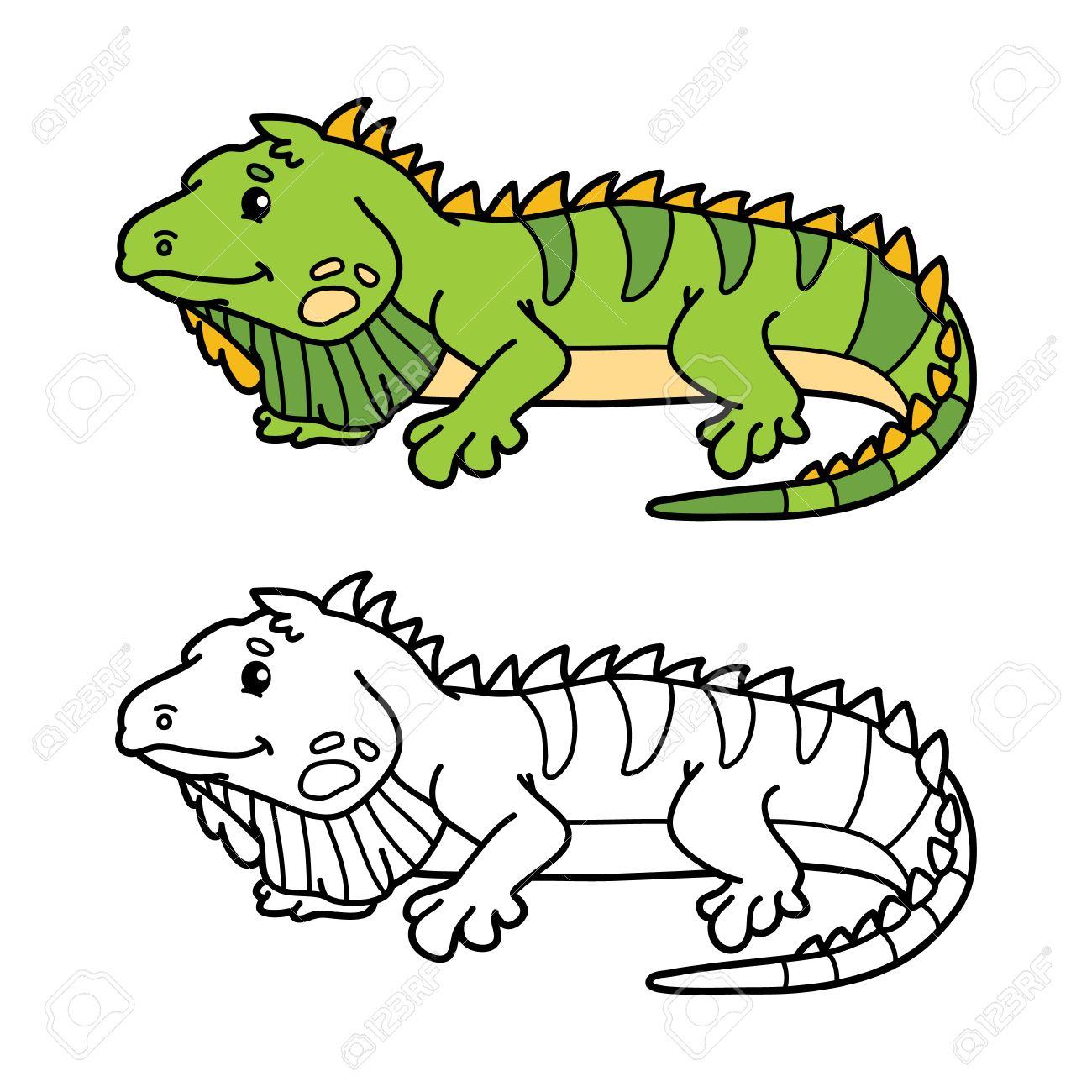 Funny Iguana. Illustration Coloring Page Of Happy Cartoon Iguana ...