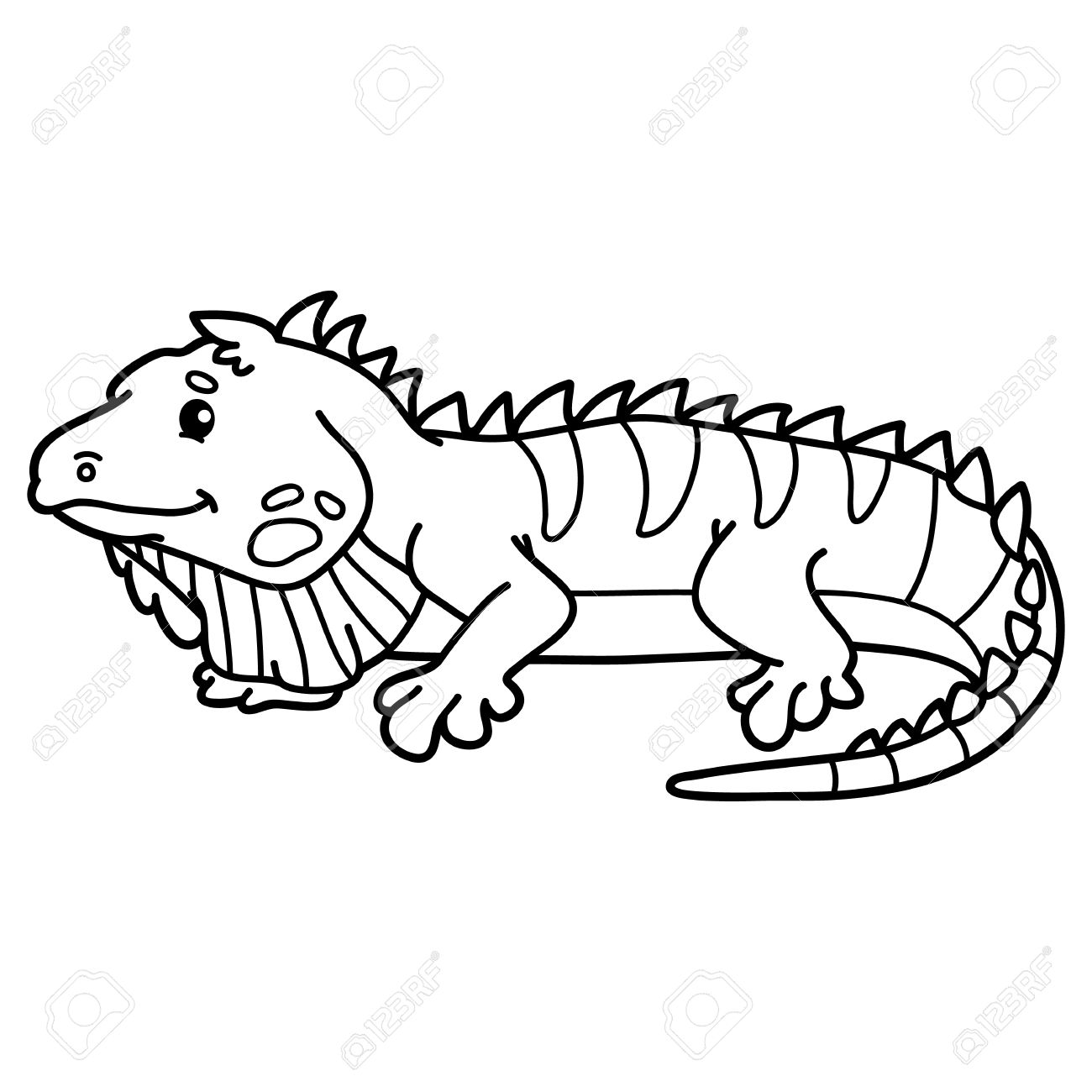 Iguana Linda Ilustración De Personaje Lindo Iguana Para Los Niños