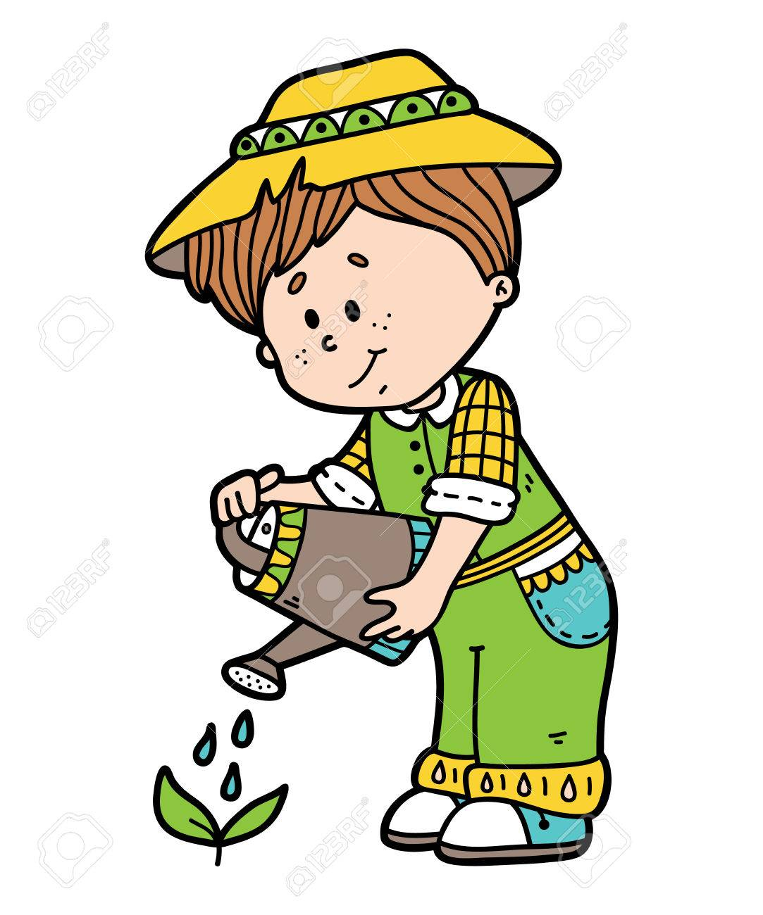 Cute Gardener. Vector Illustration Of Cute Cartoon Gardener ...