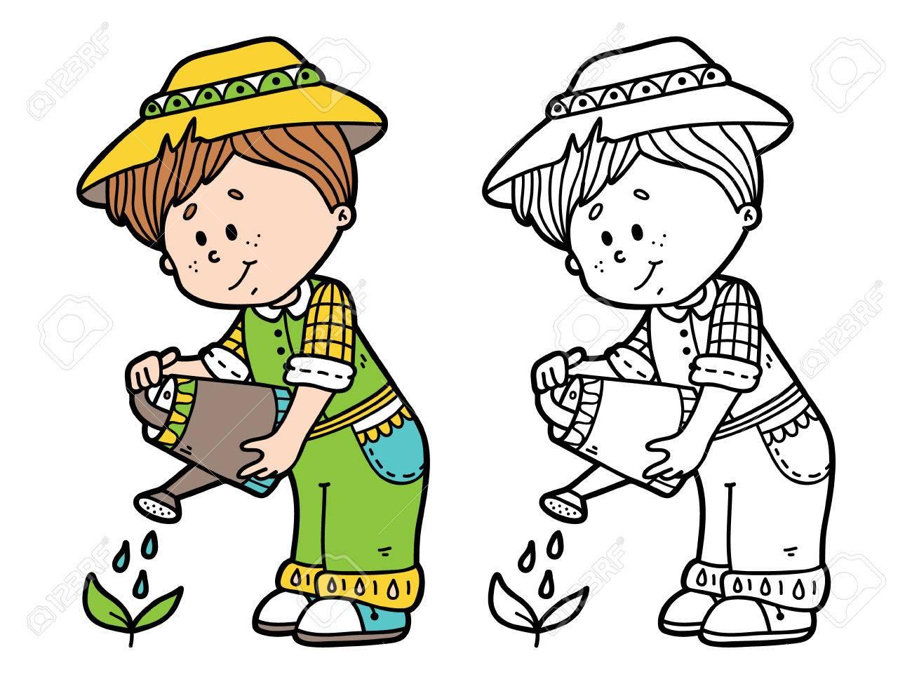 Jardinero Lindo. Vector Ilustración De La Página Para Colorear De ...