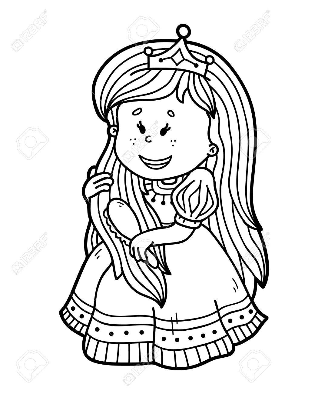 Cute Princess Vector Illustration Coloring Page Of Happy Cartoon For Children And Scrap Book