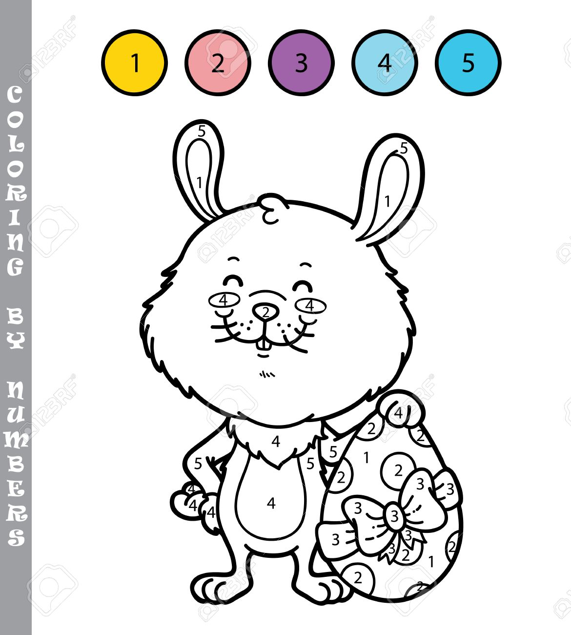 funny bunny coloring game vector illustration coloring by numbers game of happy cartoon easter bunny