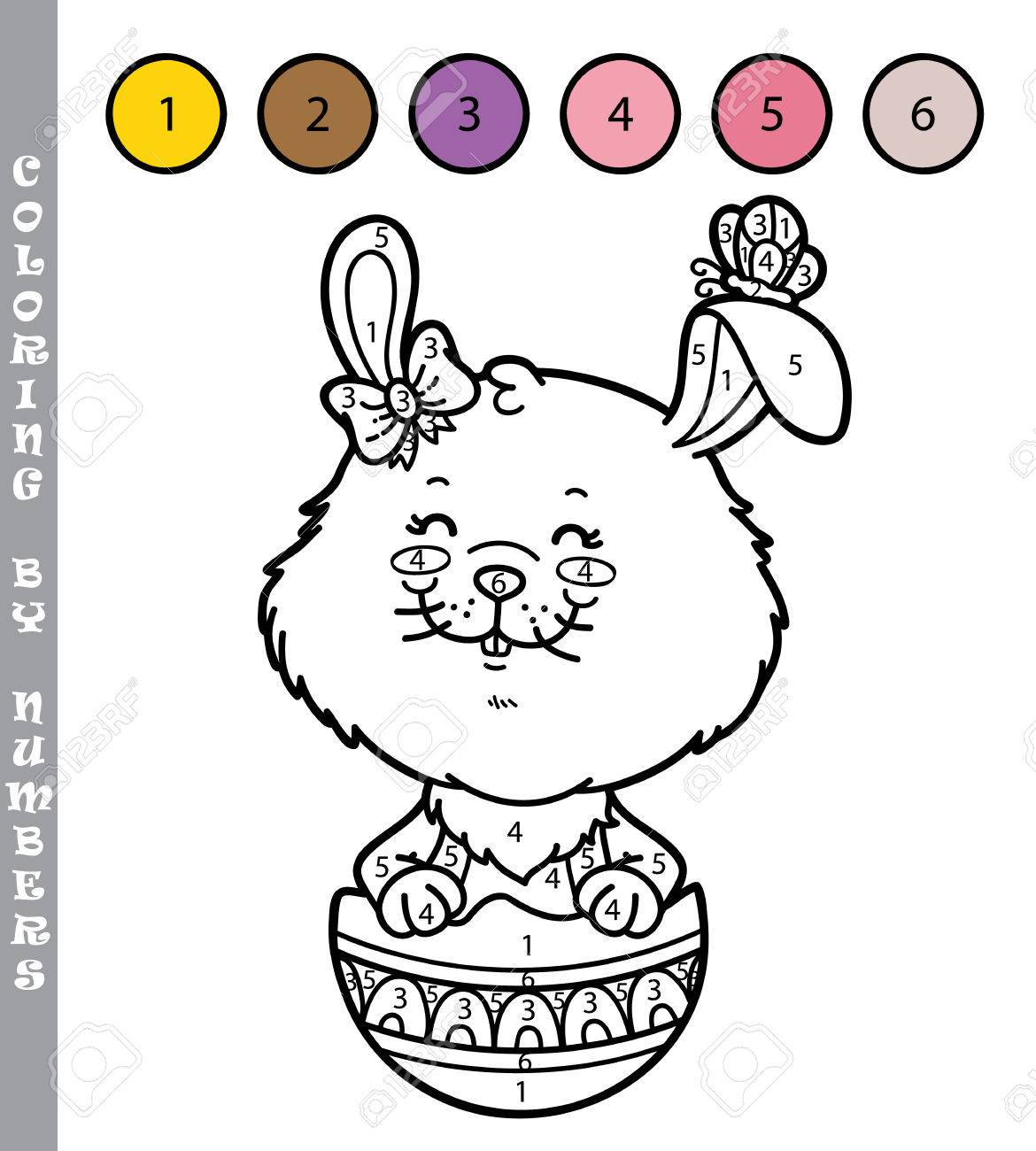 funny bunny coloring game vector illustration coloring by numbers