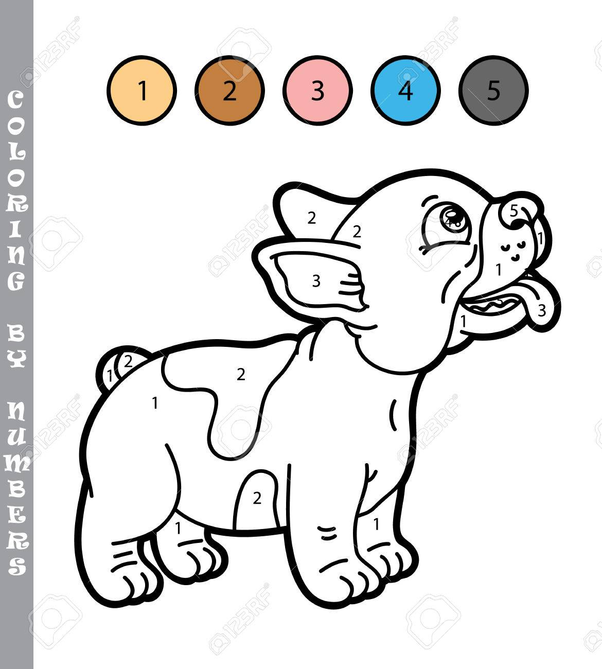 Funny Puppy Coloring Game. Vector Illustration Coloring By Numbers ...