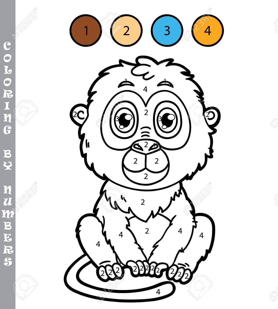 Divertido Juego De Colorear Mono Ilustración Vectorial Para