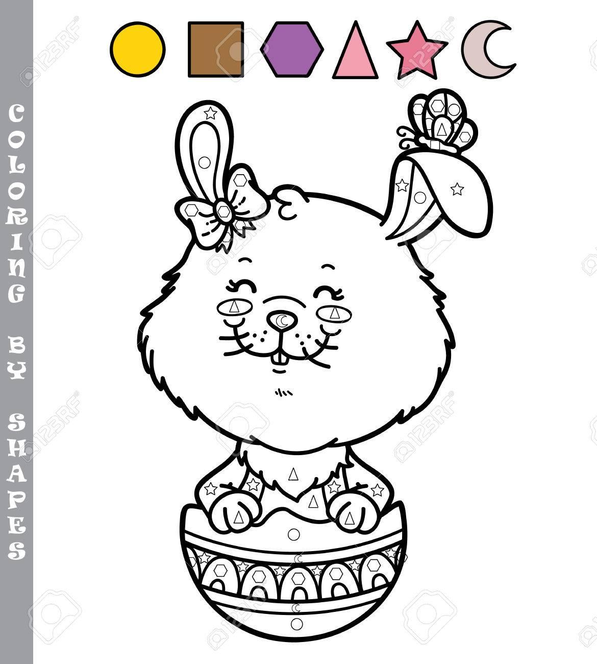 Divertido Juego De Colorear Conejito. Ilustración Vectorial Para ...