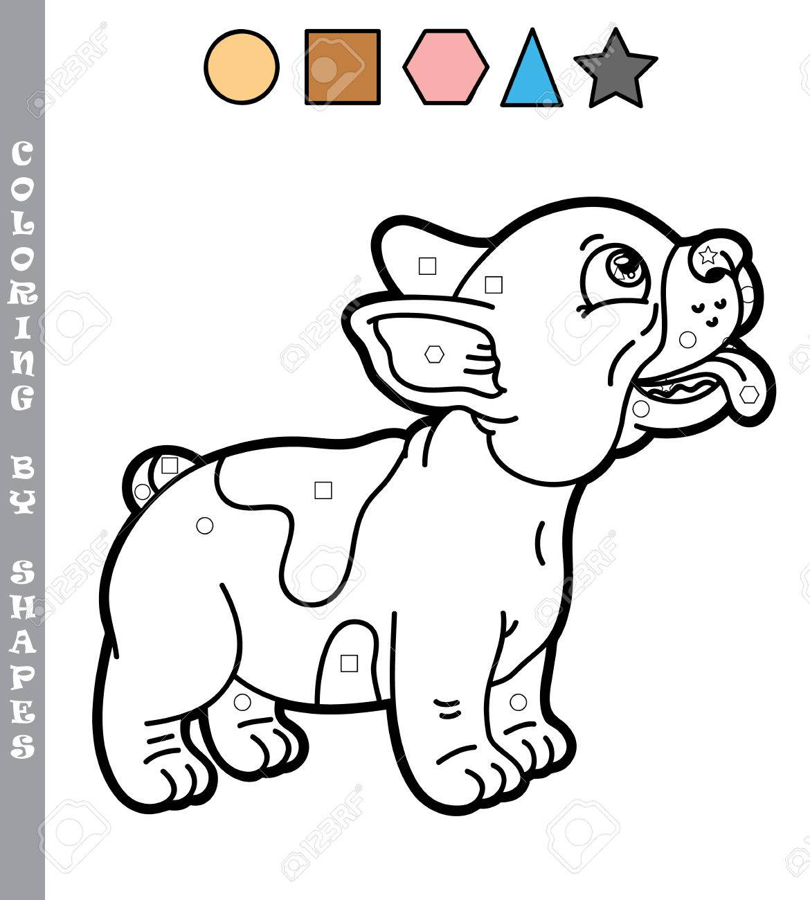 Funny Puppy Coloring Game. Vector Illustration Coloring By Shapes ...