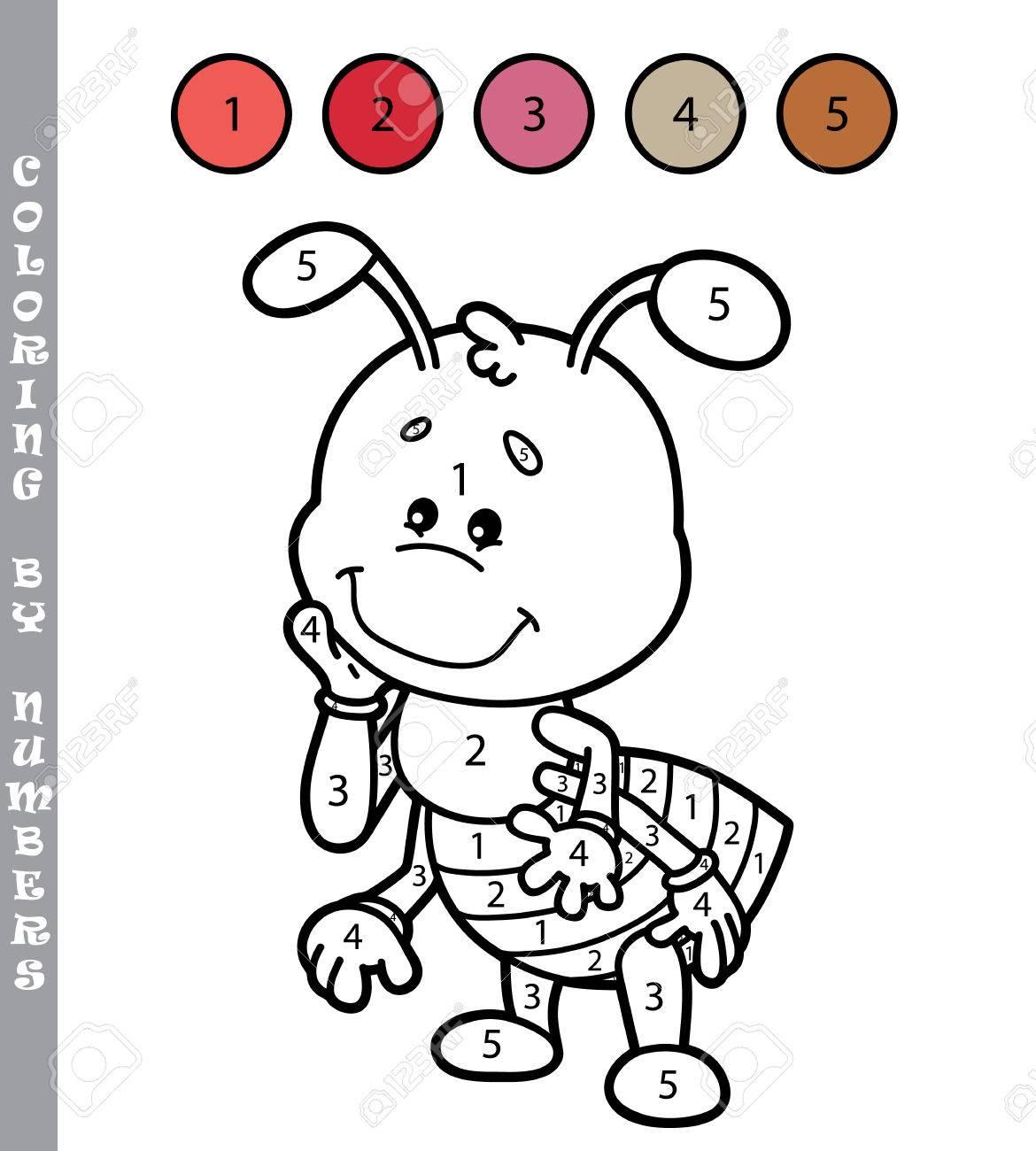 Colorear Por Números Divertido Juego Ilustración Vectorial Para
