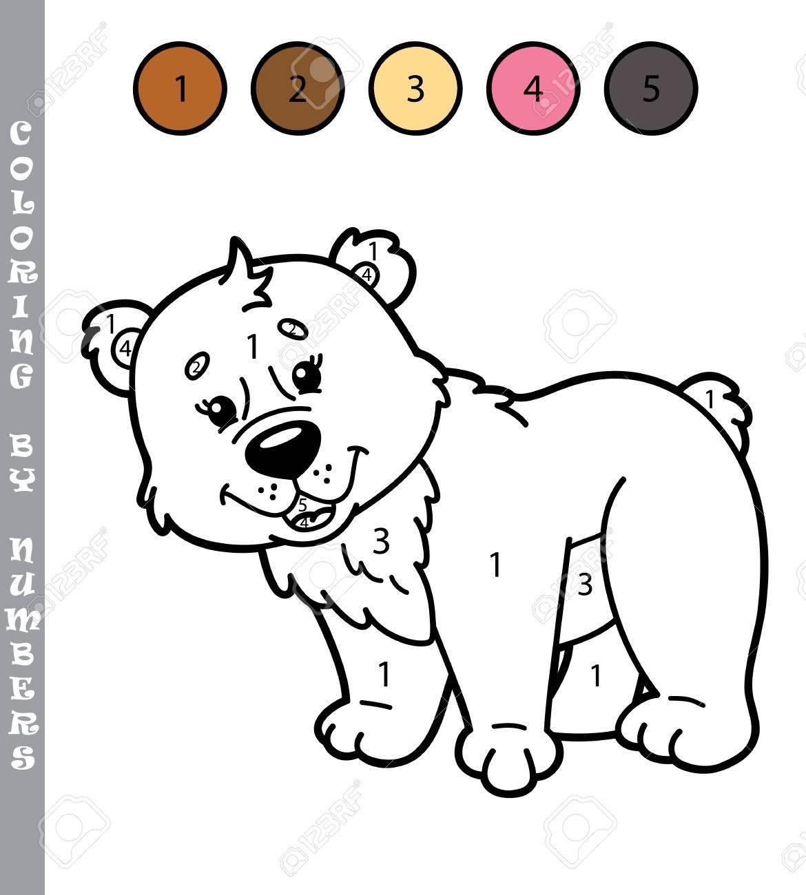 Colorear Por Números Divertido Juego Ilustración Vectorial Para Colorear Por Números Juego Del Oso De Dibujos Animados Para Los Niños