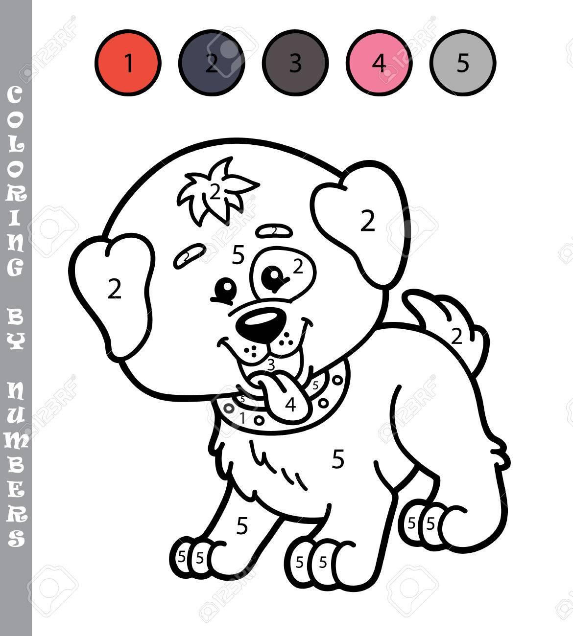 Colorear Por Números Divertido Juego Ilustración Vectorial Para Colorear Por Números Juego Del Perrito De La Historieta Para Los Niños