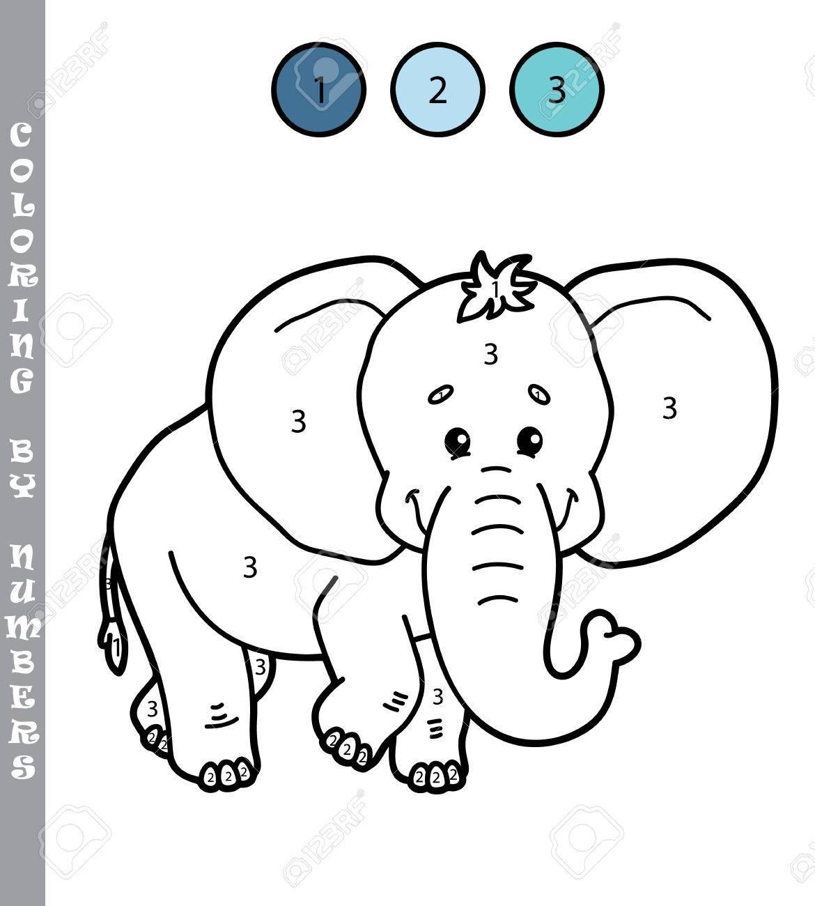 Colorear Por Números Divertido Juego Ilustración Vectorial Para Colorear Por Números Juego Del Elefante De Dibujos Animados Para Los Niños