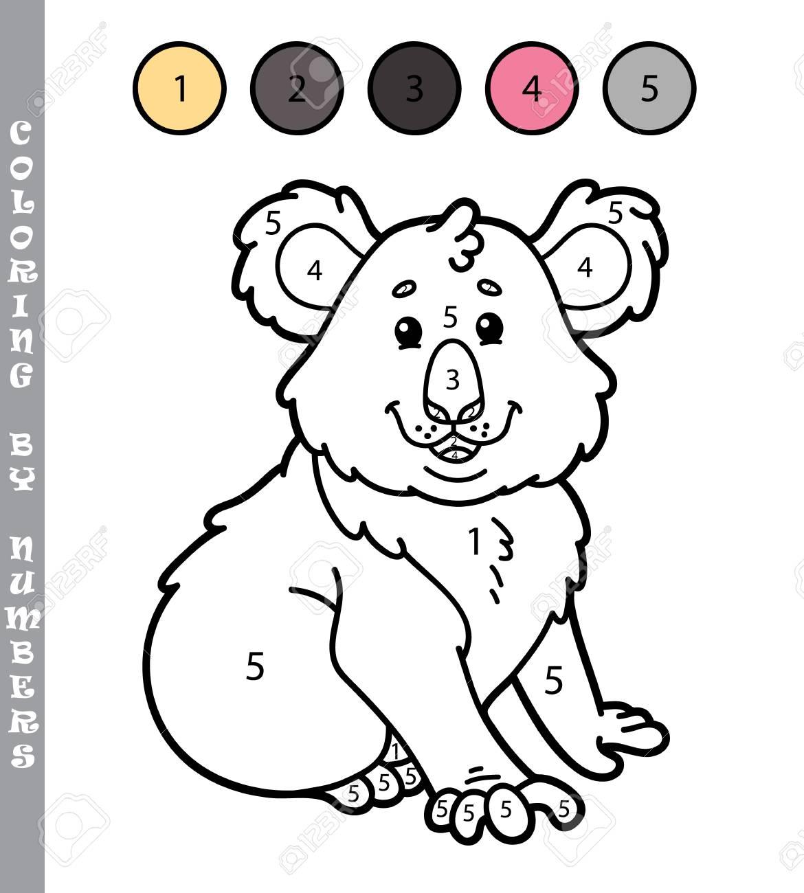 Colorear Por Números Divertido Juego Ilustración Vectorial Para Colorear Por Números Juego De La Koala De Dibujos Animados Para Los Niños