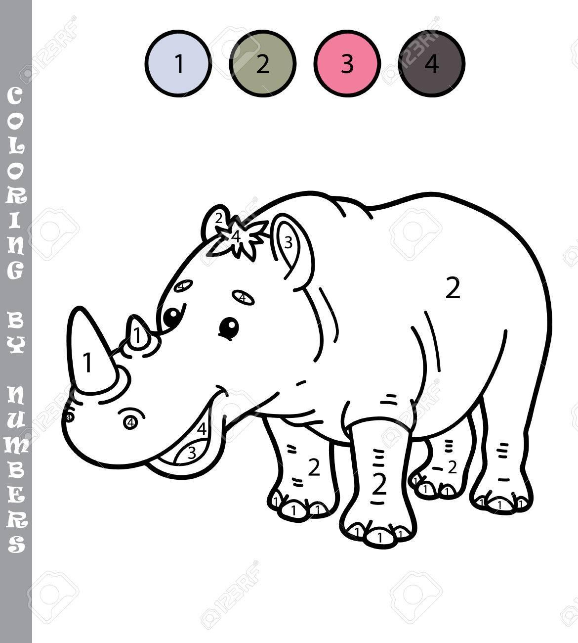 Colorear Por Números Divertido Juego. Ilustración Vectorial Para ...