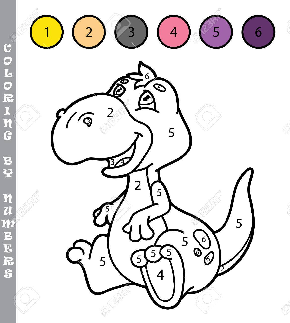 Funny Coloring By Numbers Game Vector Illustration With Cartoon Dino For