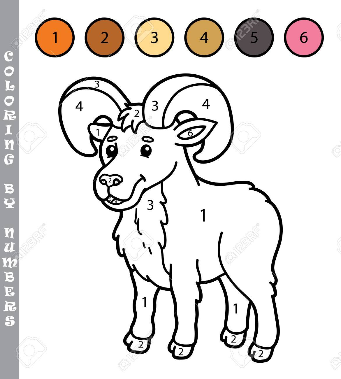 Colorear Por Números Divertido Juego Ilustración Vectorial Para Colorear Por Números Juego Con Urial De Dibujos Animados Para Los Niños