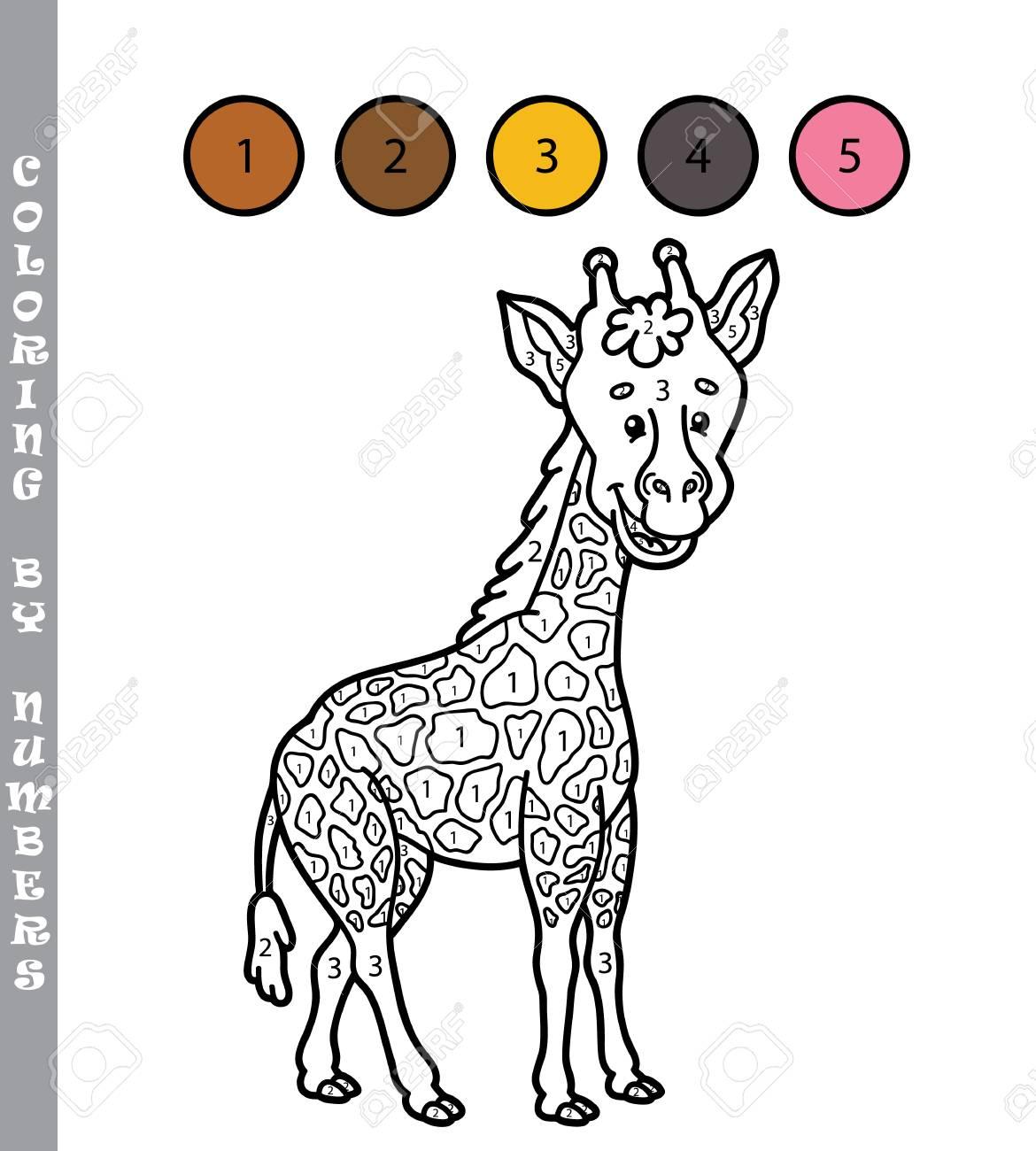 Colorear Por Números Divertido Juego Ilustración Vectorial Para Colorear Por Números Juego Con La Jirafa De Dibujos Animados Para Los Niños