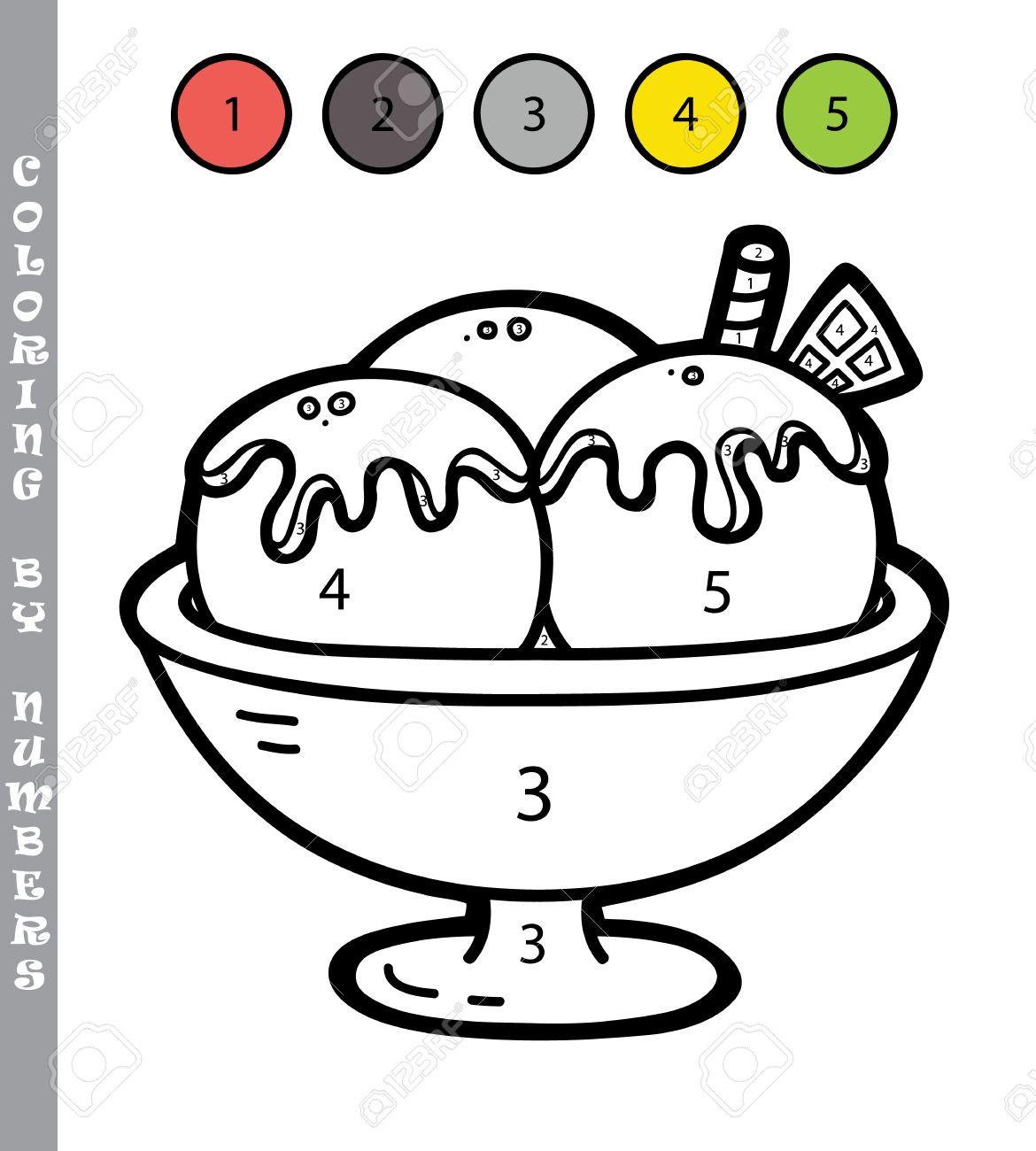 Colorear Por Números Divertido Juego Ilustración Vectorial Para Colorear Por Números Juego Con Helado De Dibujos Animados Para Los Niños