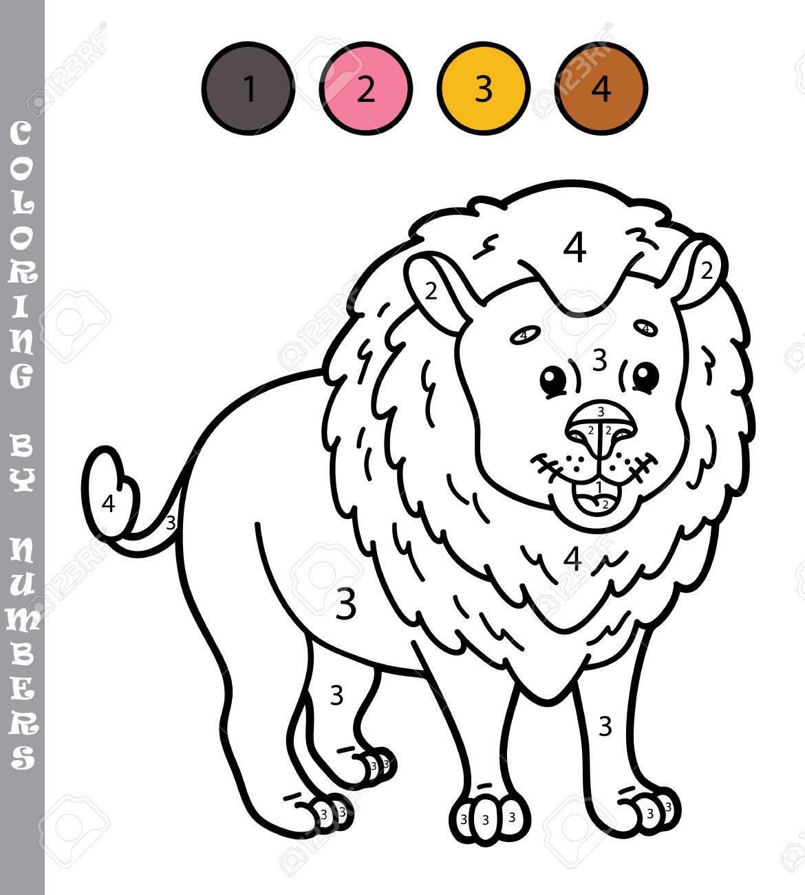 Colorear Por Números Divertido Juego Ilustración Vectorial Para Colorear Por Números Juego Con León De Dibujos Animados Para Los Niños