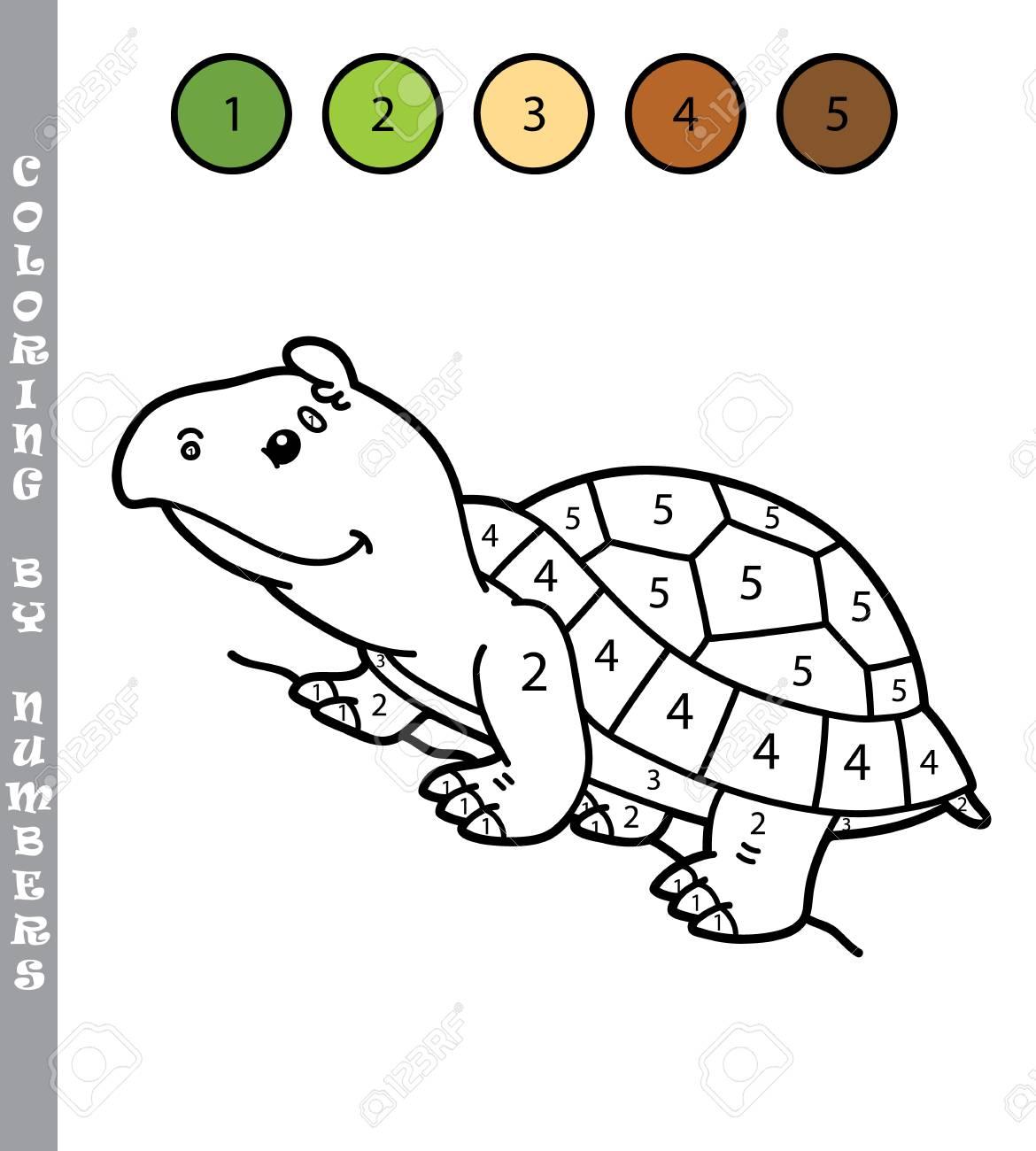 Colorante Divertido Por El Juego De Números Ilustración Vectorial Para Colorear Por Números Juego Con Tortuga De Dibujos Animados Para Niños