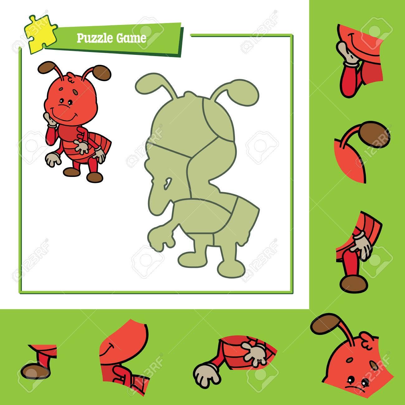 Lindo Juego De Puzzle. Ilustración Del Vector Del Juego De Puzzle ...