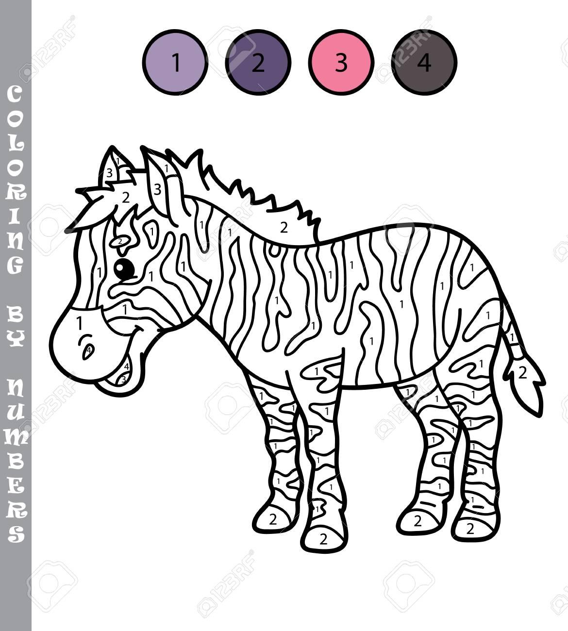 Colorear Por Números Juegos Educativos Para Niños Ilustración Vectorial De Colorear Por Números Juego Educativo Con Cebra De Dibujos Animados Para