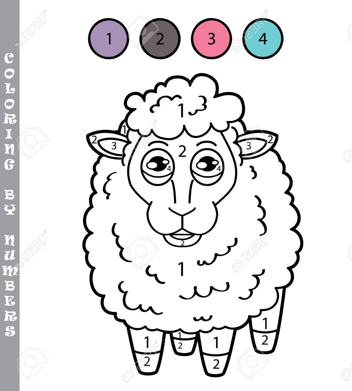 Coloring By Numbers Game. Vector Illustration Of Coloring Game ...