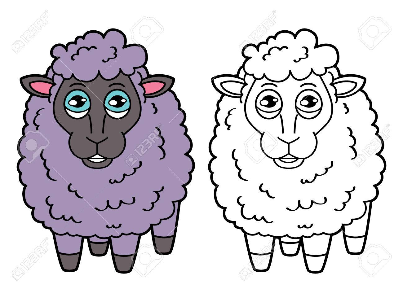 Sheep Coloring Page. Vector Educational Coloring Page Of Happy ...