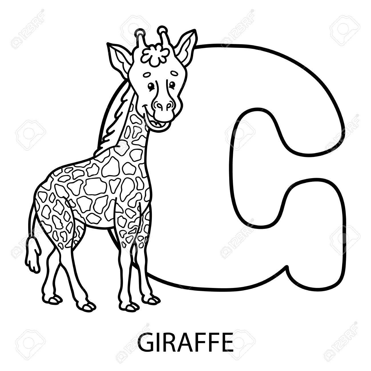 Animaux Coloriage alphabet. Vector illustration de l'éducation Coloriage  alphabet avec des animaux de bande dessinée pour les enfants
