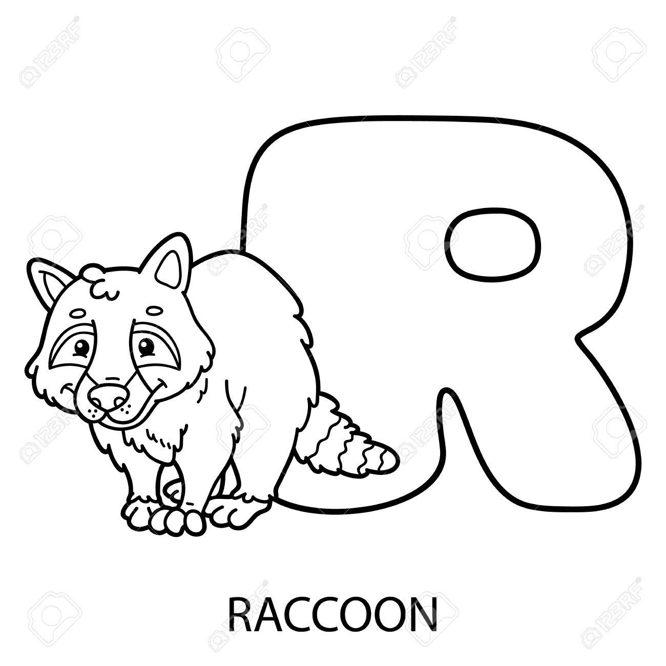 Animal Alphabet Coloring Page. Vector Illustration Of Educational ...
