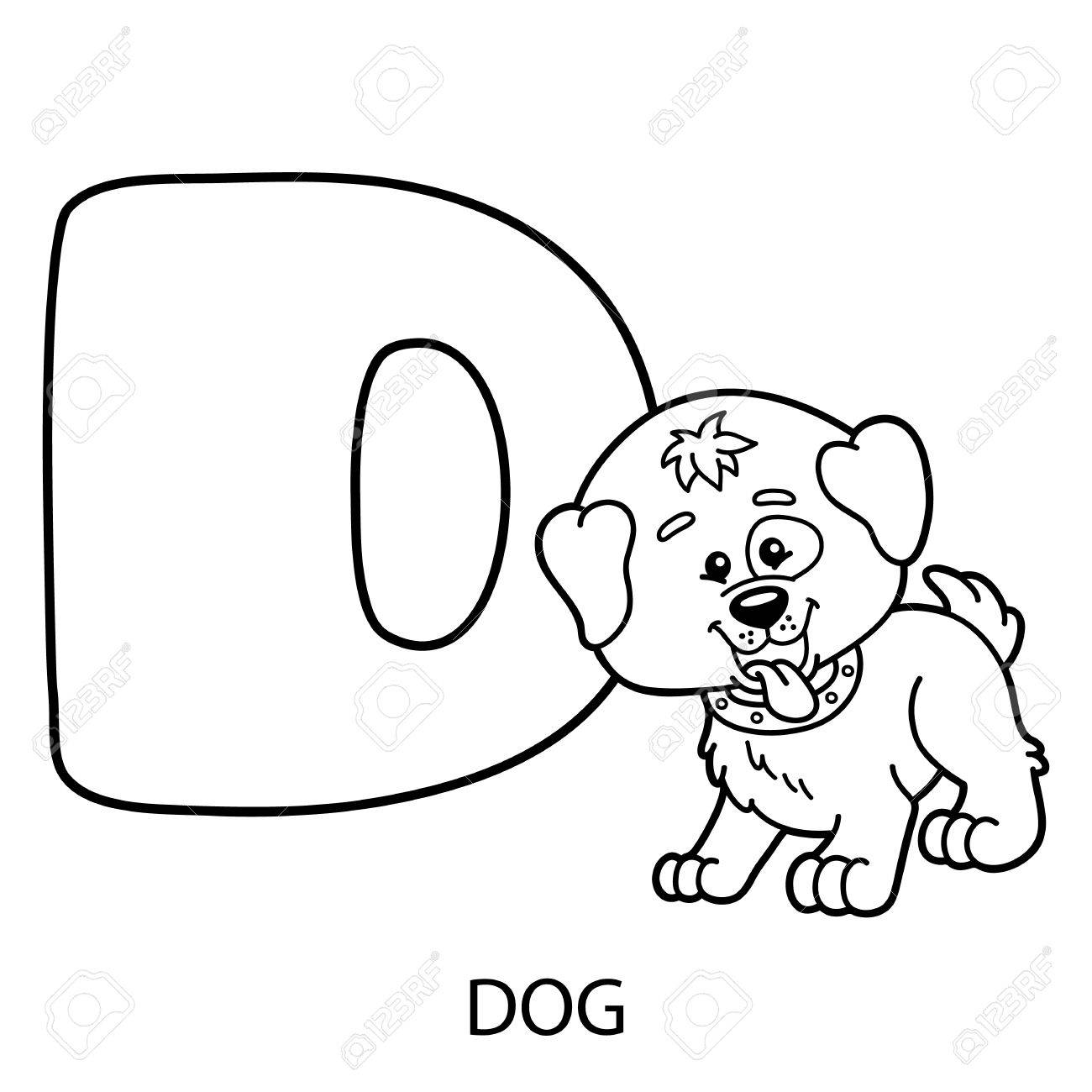 animal alphabet coloring page. Vector illustration of educational..