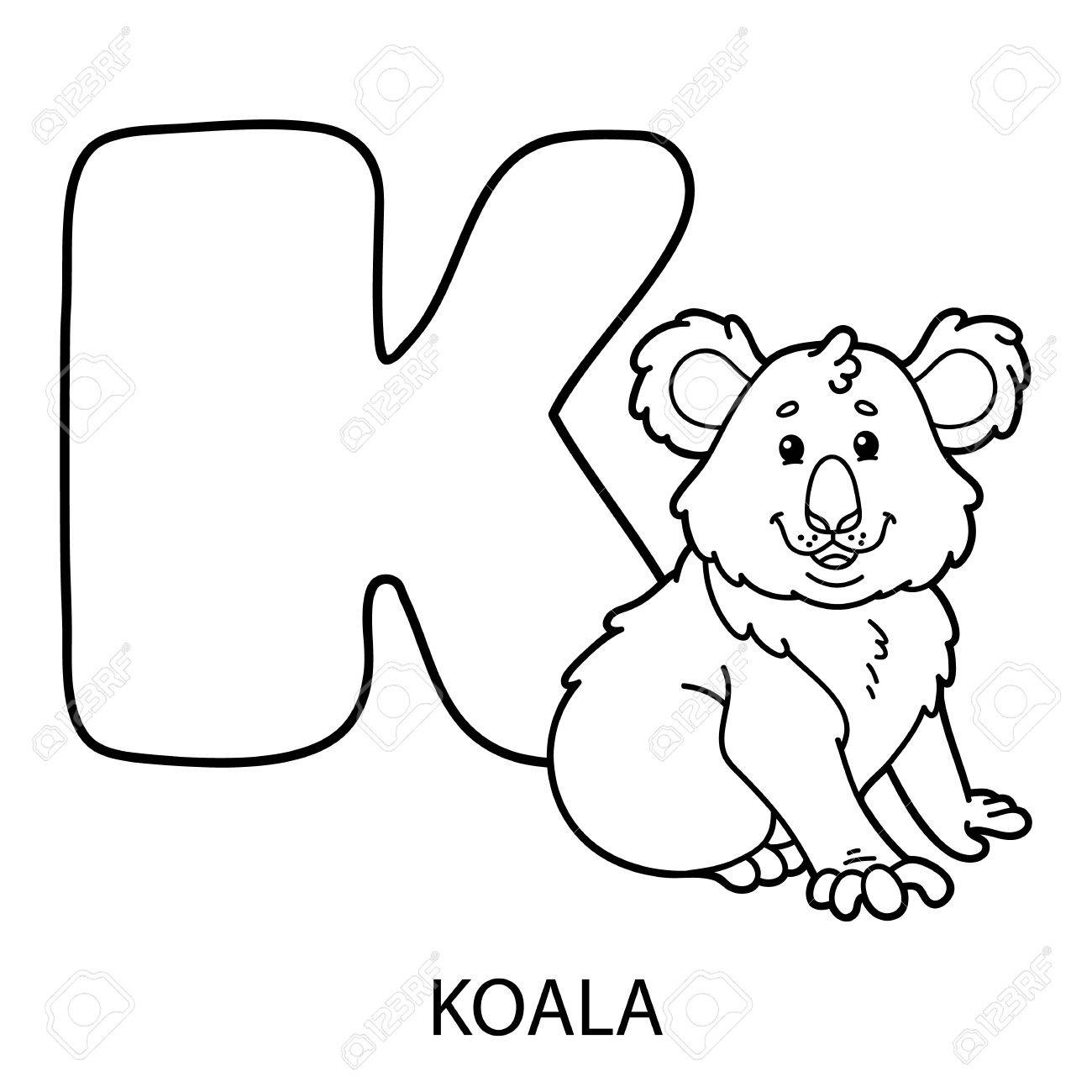 Animal Alphabet Coloring Page. Vector Illustration Of Educational Alphabet  Coloring Page With Cartoon Animal For