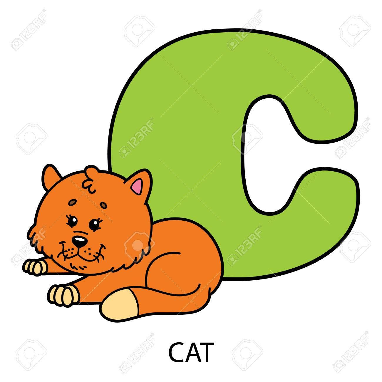 Animal Alphabet Card. Vector Illustration Of Educational Alphabet ...
