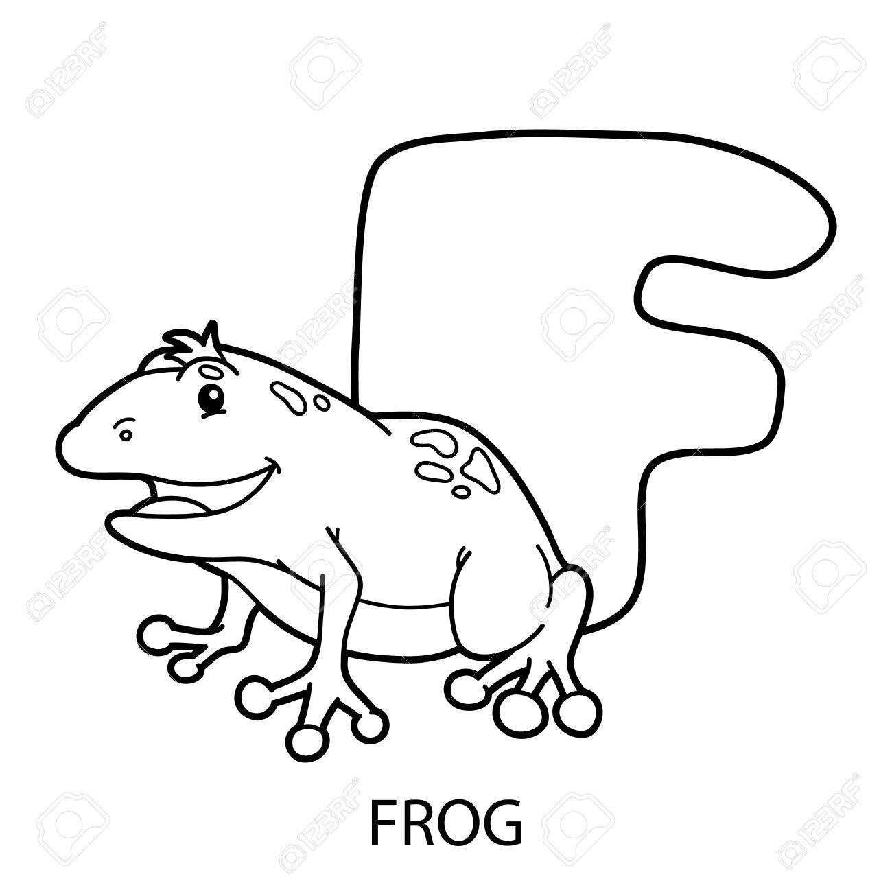 Colorear Alfabeto Animal. La Ilustración De La Página Educativa ...
