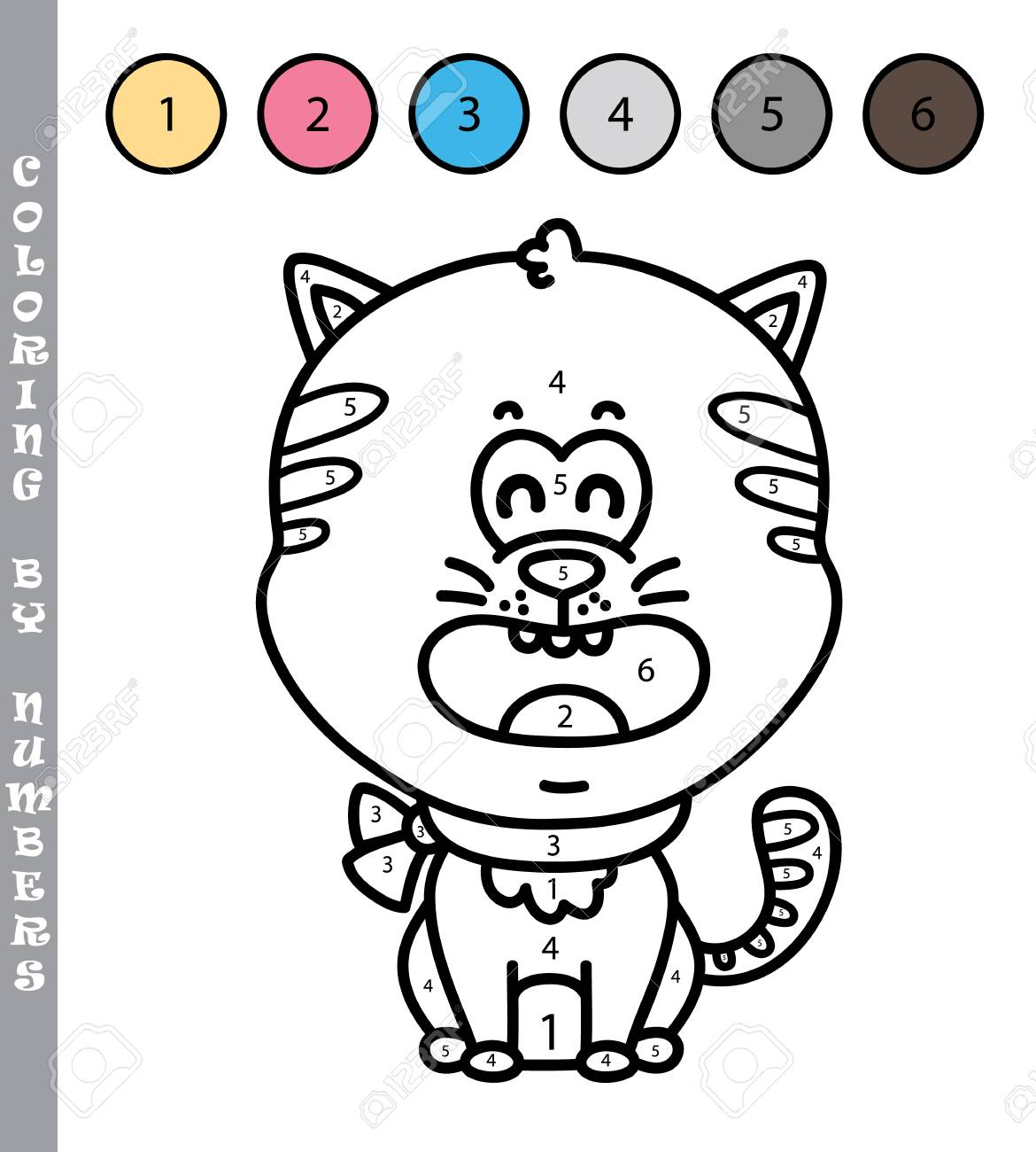 Divertido Juego De Colorear Por Números Ilustración De Vector Para Colorear Por Números Juego De Gatito De Dibujos Animados Para Niños