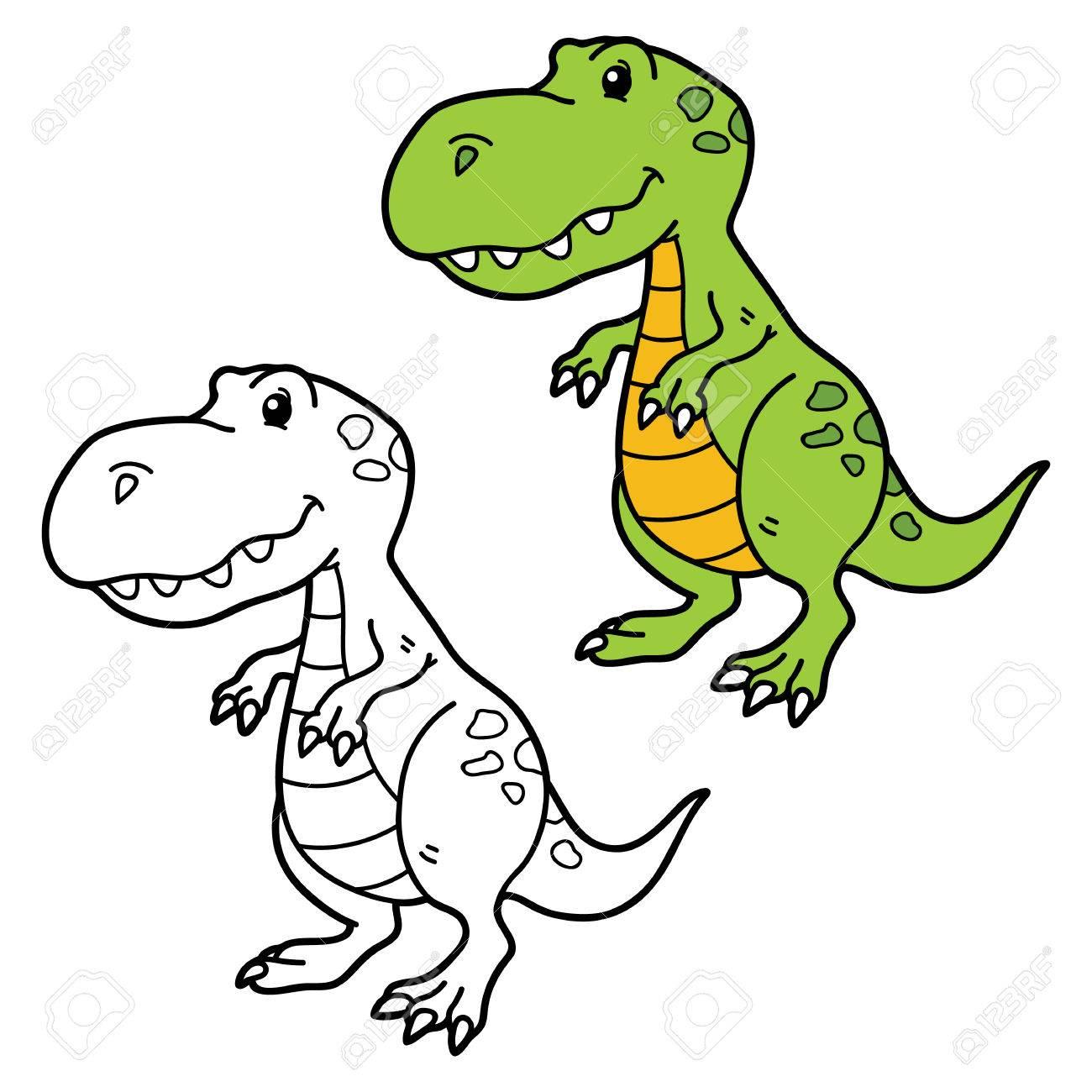 Vector Ilustración De La Página Para Colorear De Dinosaurios De Dibujos Animados Feliz Para Los Niños Colorear Y álbum De Recortes