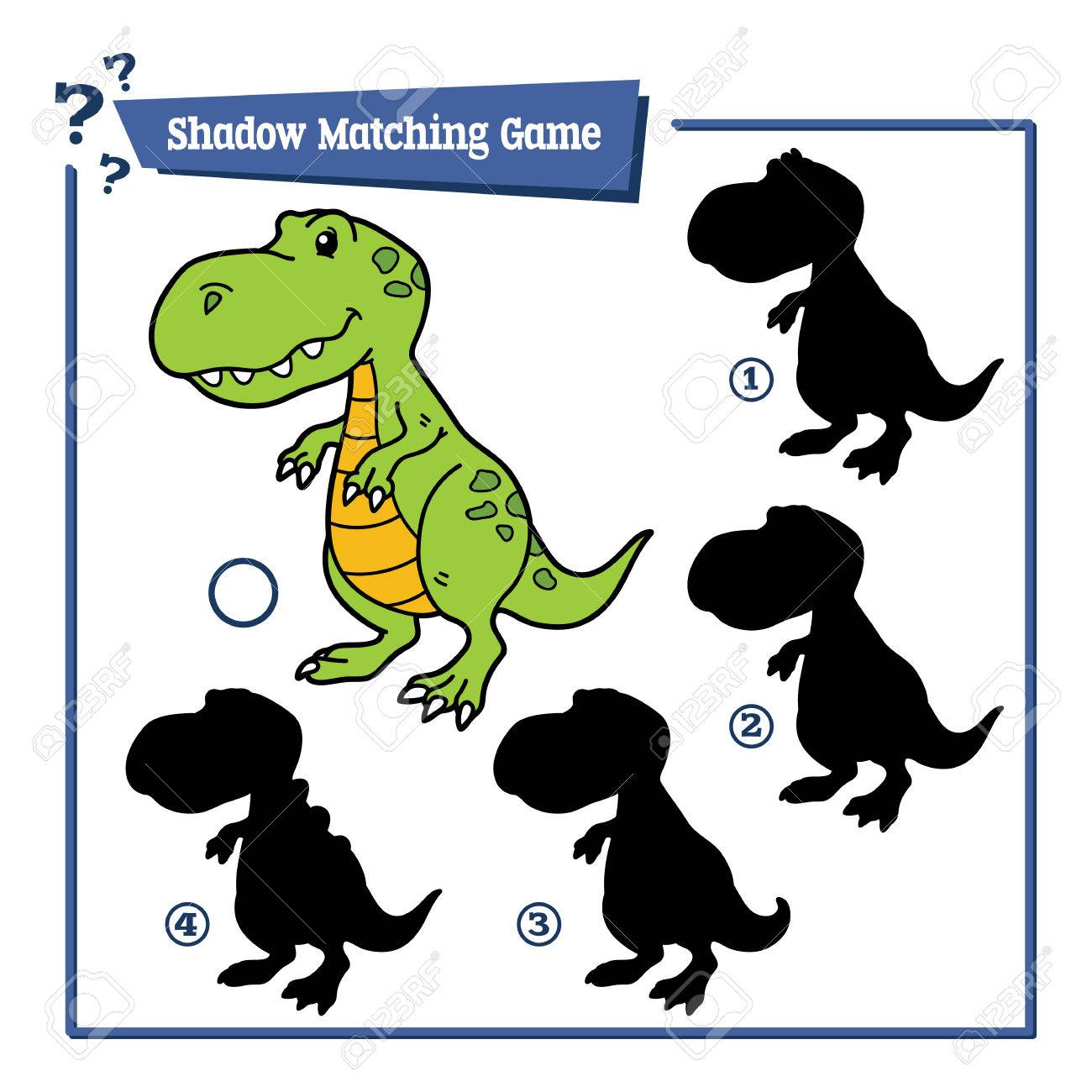 Vector Illustration Of Shadow Matching Game With Cartoon Dinosaur ...